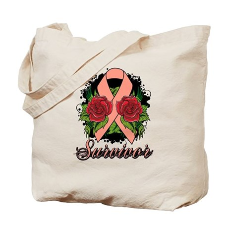 Endometrial Cancer Survivor Rose Tattoo Tote Bag