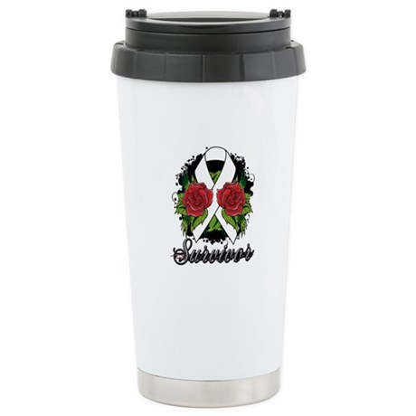 Emphysema Survivor Rose Tattoo Ceramic Travel Mug