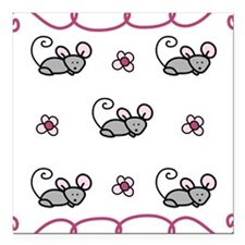 "Mice Square Car Magnet 3"" x 3"""