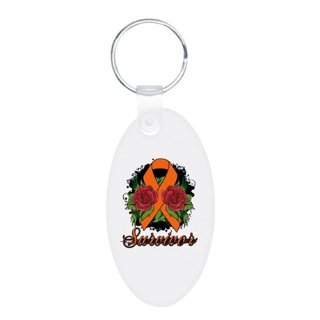COPD Survivor Rose Tattoo Aluminum Oval Keychain