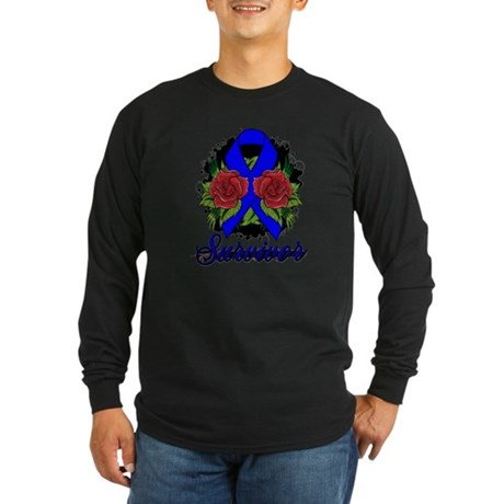 Colon Cancer Survivor Rose Tattoo Long Sleeve Dark