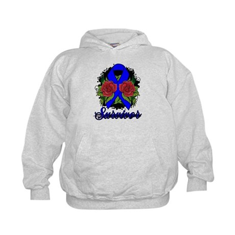 Colon Cancer Survivor Rose Tattoo Kids Hoodie