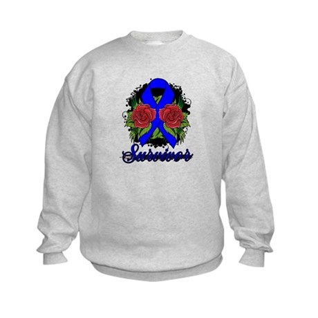 Colon Cancer Survivor Rose Tattoo Kids Sweatshirt