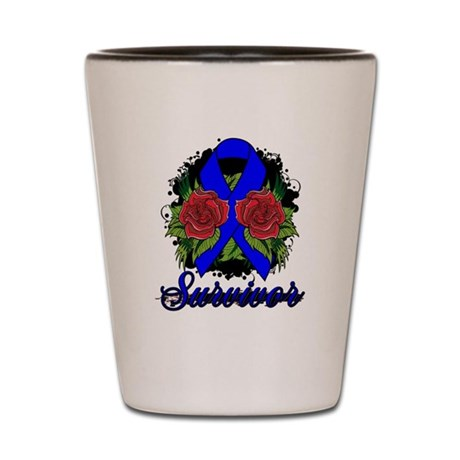 Colon Cancer Survivor Rose Tattoo Shot Glass