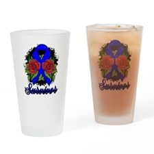 Colon Cancer Survivor Rose Tattoo Drinking Glass