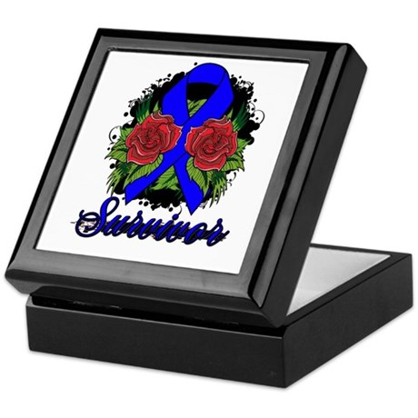 Colon Cancer Survivor Rose Tattoo Keepsake Box