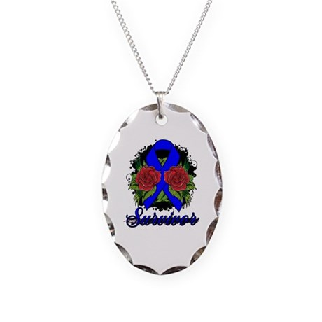 Colon Cancer Survivor Rose Tattoo Necklace Oval Ch