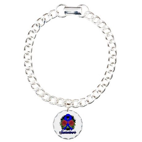 Colon Cancer Survivor Rose Tattoo Charm Bracelet,