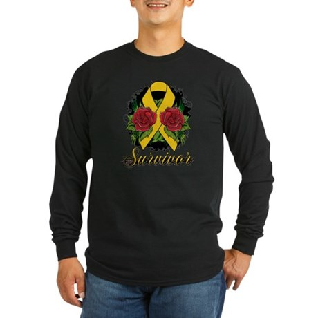 Childhood Cancer Survivor Rose Long Sleeve Dark T-