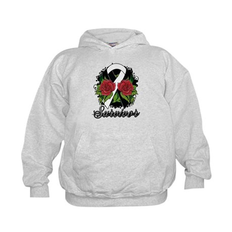 Carcinoid Cancer Survivor Rose Tattoo Kids Hoodie