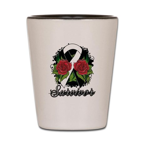 Carcinoid Cancer Survivor Rose Tattoo Shot Glass