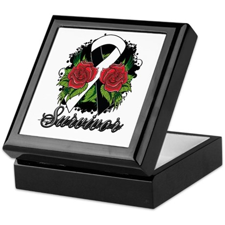 Carcinoid Cancer Survivor Rose Tattoo Keepsake Box