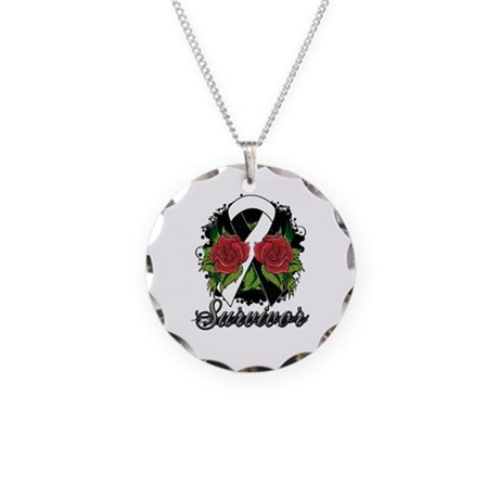 Carcinoid Cancer Survivor Rose Tattoo Necklace Cir