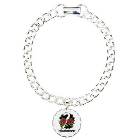 Carcinoid Cancer Survivor Rose Tattoo Charm Bracel
