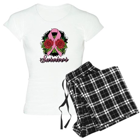 Breast Cancer Survivor Rose Tattoo Women's Light P