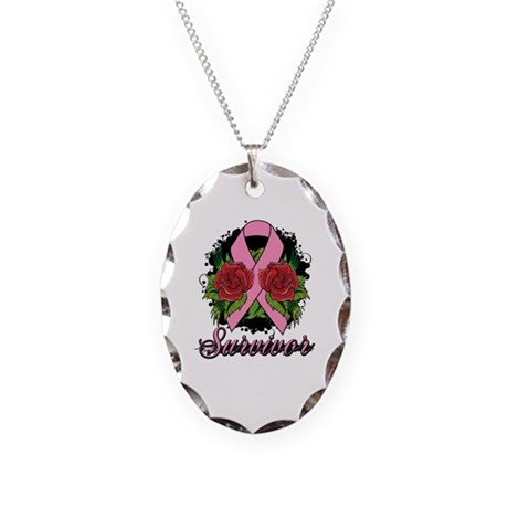 Breast Cancer Survivor Rose Tattoo Necklace Oval C