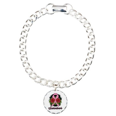 Breast Cancer Survivor Rose Tattoo Charm Bracelet,