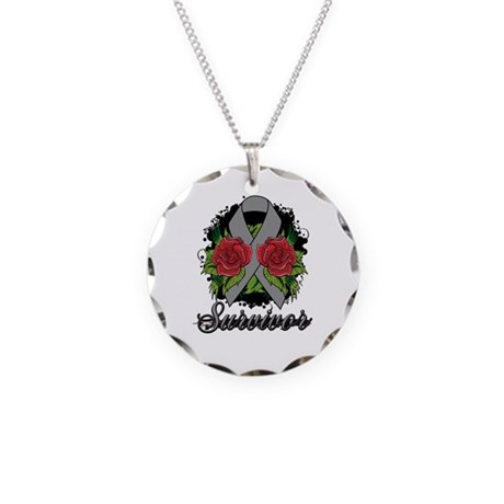 Brain Tumor Survivor Rose Tattoo Necklace Circle C