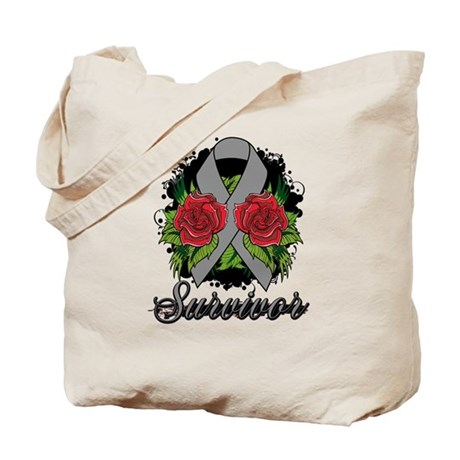 Brain Cancer Survivor Rose Tattoo Tote Bag