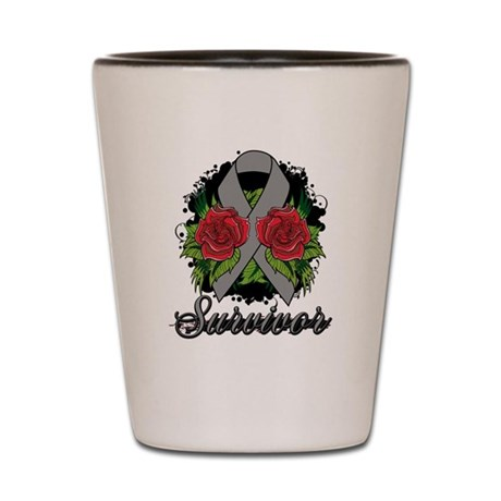 Brain Cancer Survivor Rose Tattoo Shot Glass