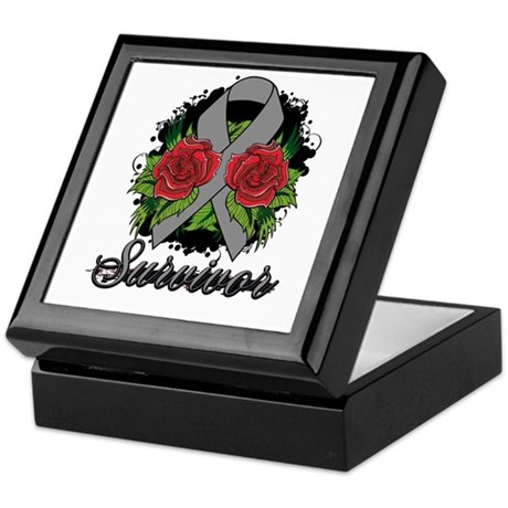Brain Cancer Survivor Rose Tattoo Keepsake Box