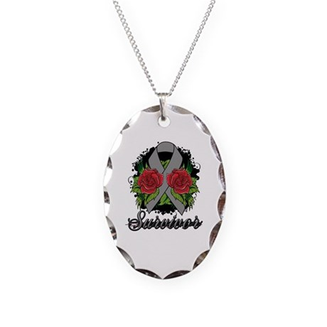 Brain Cancer Survivor Rose Tattoo Necklace Oval Ch