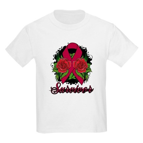 Brain Aneurysm Survivor Rose Tattoo Kids Light T-S