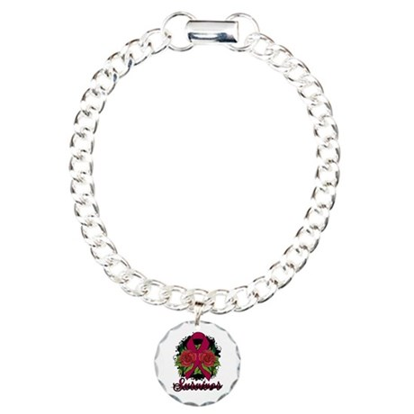 Brain Aneurysm Survivor Rose Tattoo Charm Bracelet