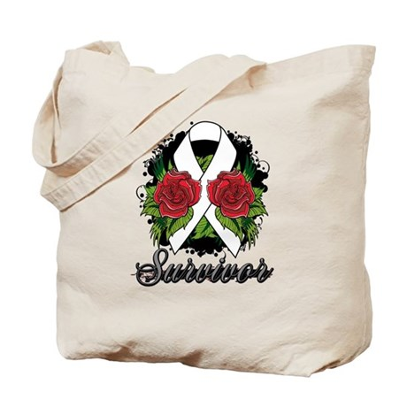 Bone Cancer Survivor Rose Tattoo Tote Bag