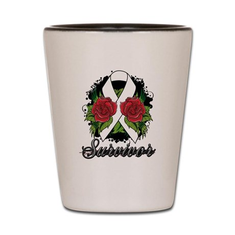 Bone Cancer Survivor Rose Tattoo Shot Glass