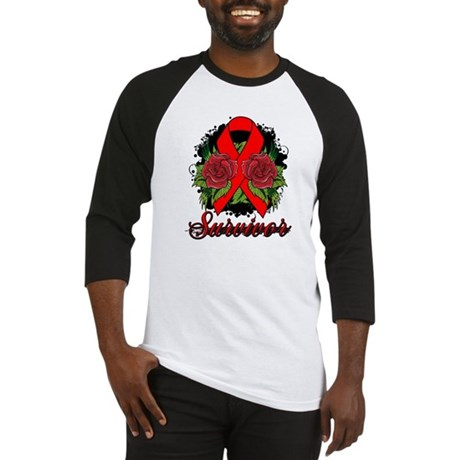 Blood Cancer Survivor Rose Tattoo Baseball Jersey
