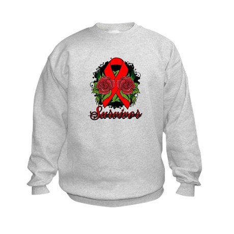 Blood Cancer Survivor Rose Tattoo Kids Sweatshirt