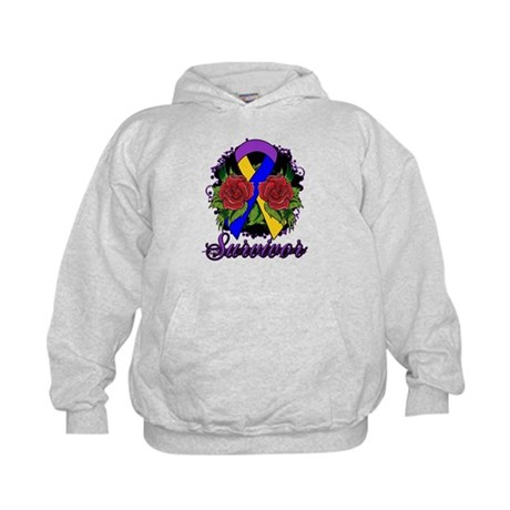 Bladder Cancer Survivor Rose Tattoo Kids Hoodie