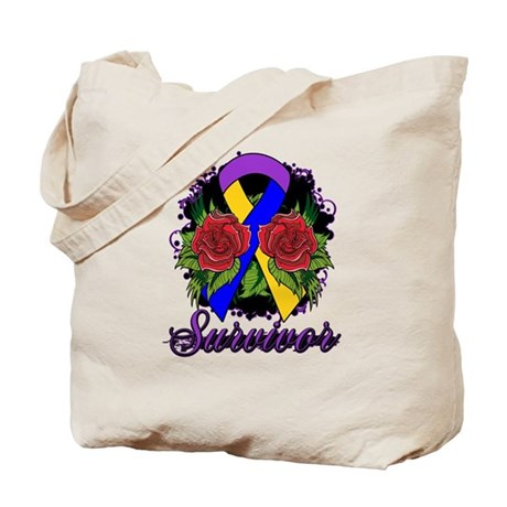 Bladder Cancer Survivor Rose Tattoo Tote Bag