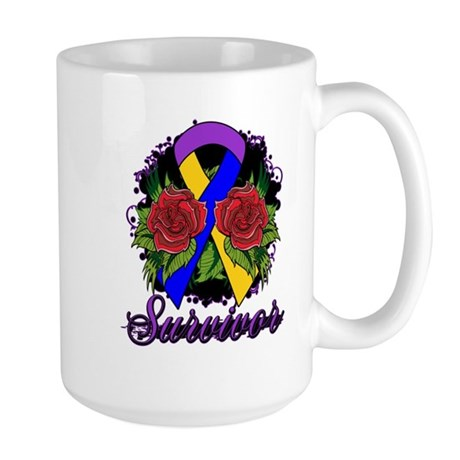 Bladder Cancer Survivor Rose Tattoo Large Mug