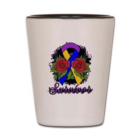 Bladder Cancer Survivor Rose Tattoo Shot Glass