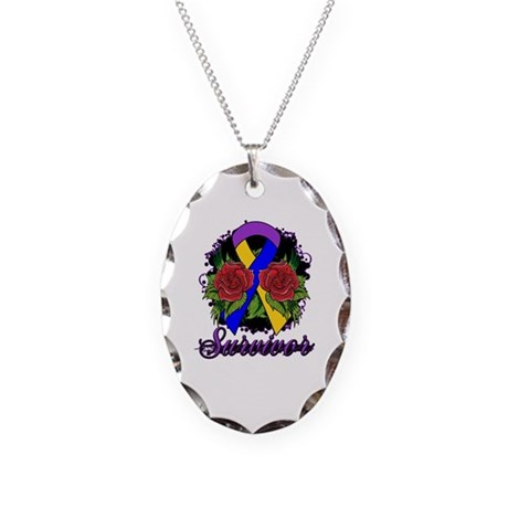 Bladder Cancer Survivor Rose Tattoo Necklace Oval
