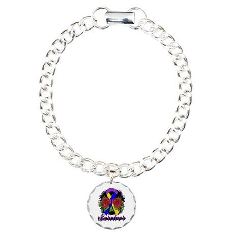 Bladder Cancer Survivor Rose Tattoo Charm Bracelet