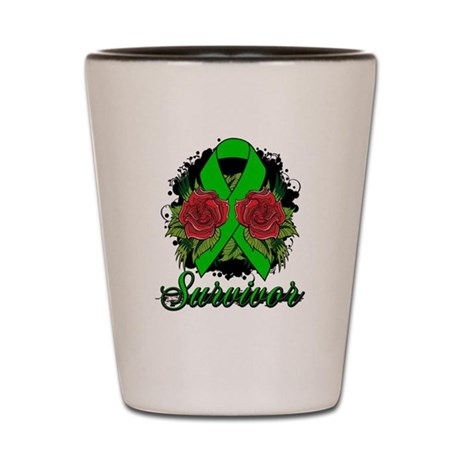Bile Duct Cancer Survivor Rose Tattoo Shot Glass