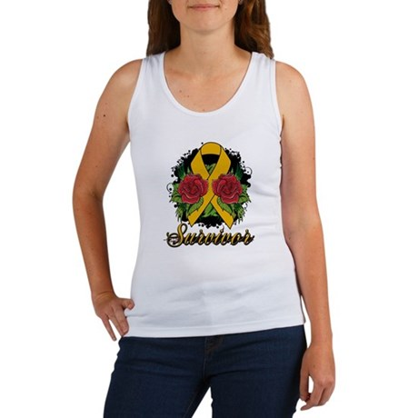 Appendix Cancer Survivor Rose Tattoo Women's Tank