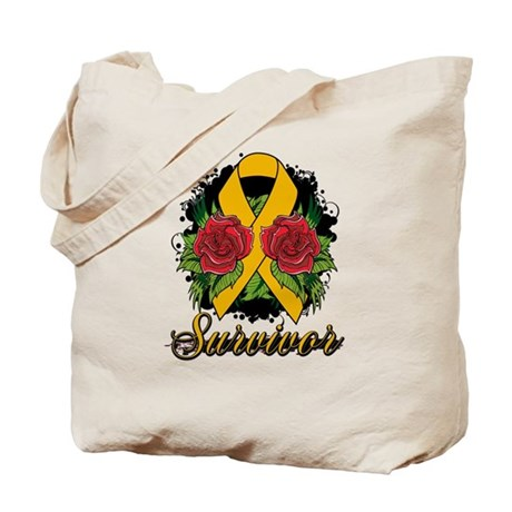 Appendix Cancer Survivor Rose Tattoo Tote Bag