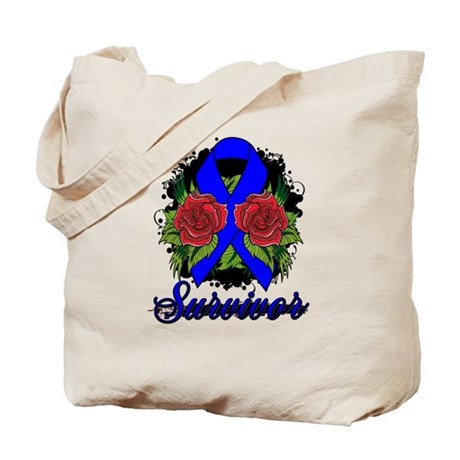 Anal Cancer Survivor Rose Tattoo Tote Bag