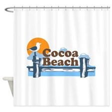 Cocoa Beach - Pier Design. Shower Curtain