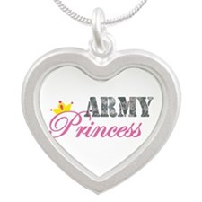 Army Princess Silver Heart Necklace