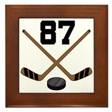 Hockey Player Number 87 Framed Tile