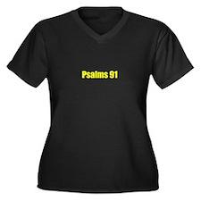 Psalms 91 Women's Plus Size V-Neck Dark T-Shirt
