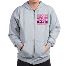 23rd Birthday rock and roll Zip Hoodie