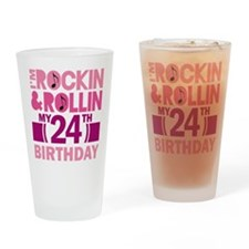 24th Birthday rock and roll Drinking Glass