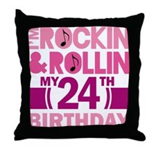 24th Birthday rock and roll Throw Pillow