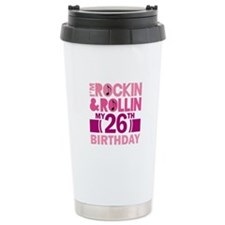 26th Birthday rock and roll Ceramic Travel Mug